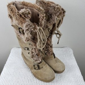 Report Leather & Fur Lace Up Wedge Tan Boots 8.5